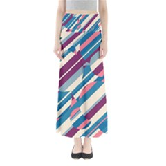 Blue And Pink Pattern Maxi Skirts