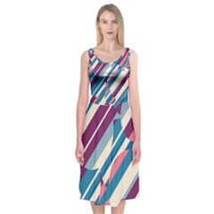 Blue and pink pattern Midi Sleeveless Dress