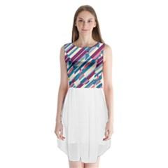 Blue and pink pattern Sleeveless Chiffon Dress