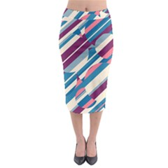 Blue And Pink Pattern Midi Pencil Skirt