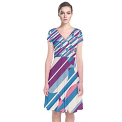 Blue And Pink Pattern Short Sleeve Front Wrap Dress