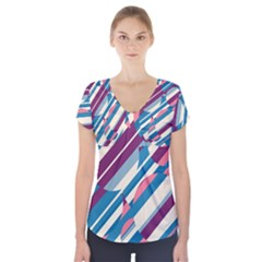 Blue And Pink Pattern Short Sleeve Front Detail Top