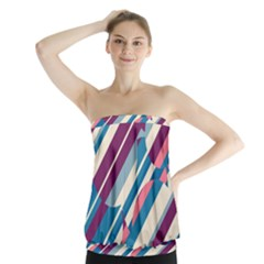 Blue And Pink Pattern Strapless Top