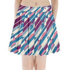 Blue and pink pattern Pleated Mini Mesh Skirt