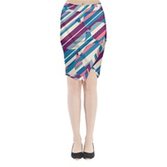 Blue and pink pattern Midi Wrap Pencil Skirt