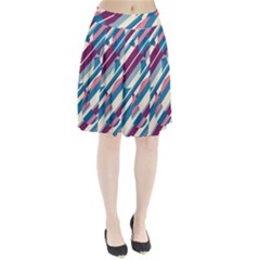 Blue and pink pattern Pleated Mesh Skirt