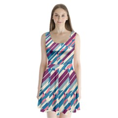 Blue and pink pattern Split Back Mini Dress
