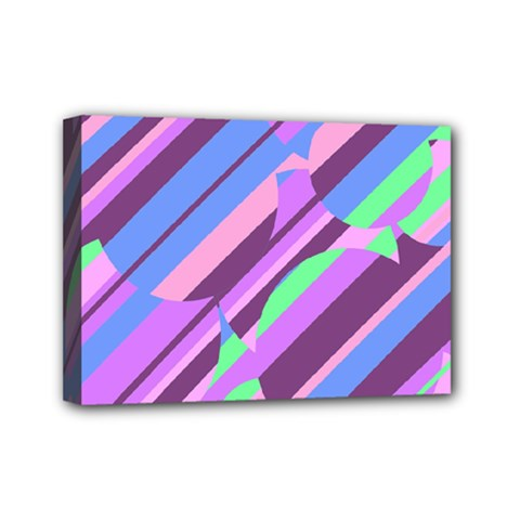 Pink, purple and green pattern Mini Canvas 7  x 5