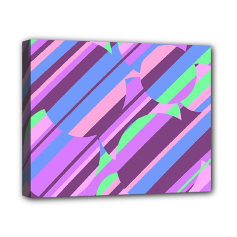 Pink, purple and green pattern Canvas 10  x 8