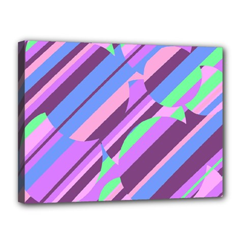 Pink, purple and green pattern Canvas 16  x 12