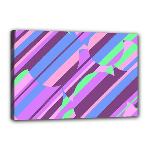 Pink, purple and green pattern Canvas 18  x 12