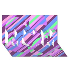 Pink, purple and green pattern MOM 3D Greeting Card (8x4)
