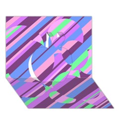 Pink, purple and green pattern Apple 3D Greeting Card (7x5)