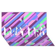 Pink, Purple And Green Pattern Best Bro 3d Greeting Card (8x4)