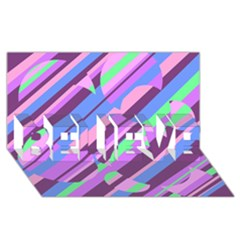 Pink, purple and green pattern BELIEVE 3D Greeting Card (8x4)