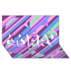 Pink, purple and green pattern SORRY 3D Greeting Card (8x4)
