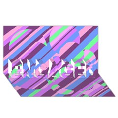 Pink, purple and green pattern ENGAGED 3D Greeting Card (8x4)
