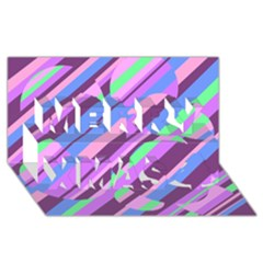 Pink, purple and green pattern Merry Xmas 3D Greeting Card (8x4)