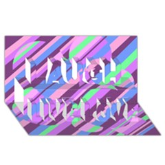 Pink, purple and green pattern Laugh Live Love 3D Greeting Card (8x4)
