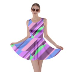 Pink, purple and green pattern Skater Dress