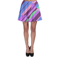 Pink, purple and green pattern Skater Skirt