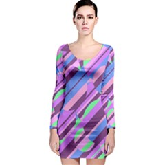 Pink, purple and green pattern Long Sleeve Bodycon Dress