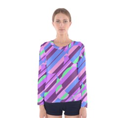Pink, purple and green pattern Women s Long Sleeve Tee