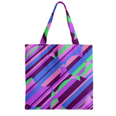 Pink, purple and green pattern Zipper Grocery Tote Bag