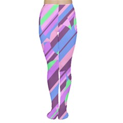 Pink, purple and green pattern Women s Tights