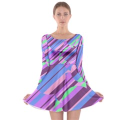Pink, purple and green pattern Long Sleeve Skater Dress