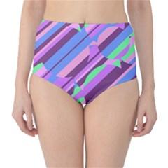 Pink, purple and green pattern High-Waist Bikini Bottoms