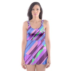 Pink, purple and green pattern Skater Dress Swimsuit
