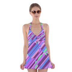 Pink, purple and green pattern Halter Swimsuit Dress