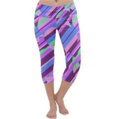 Pink, Purple And Green Pattern Capri Yoga Leggings