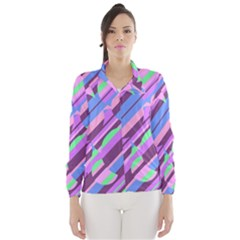 Pink, purple and green pattern Wind Breaker (Women)