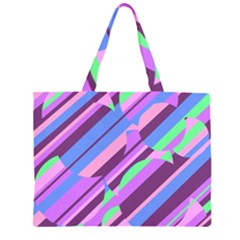 Pink, purple and green pattern Large Tote Bag