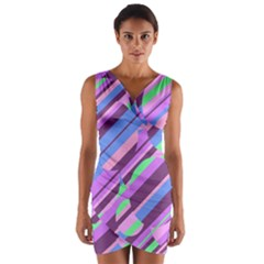 Pink, purple and green pattern Wrap Front Bodycon Dress