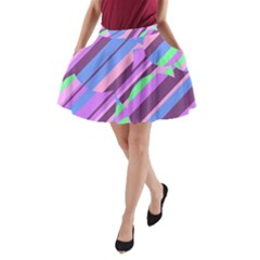 Pink, purple and green pattern A-Line Pocket Skirt