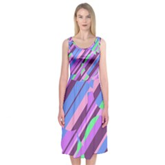 Pink, purple and green pattern Midi Sleeveless Dress