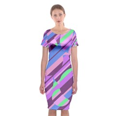 Pink, purple and green pattern Classic Short Sleeve Midi Dress