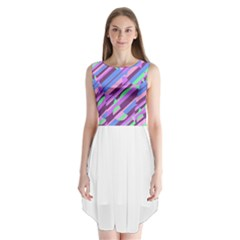 Pink, purple and green pattern Sleeveless Chiffon Dress