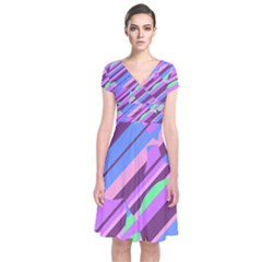 Pink, purple and green pattern Short Sleeve Front Wrap Dress