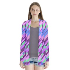 Pink, Purple And Green Pattern Drape Collar Cardigan