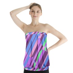 Pink, purple and green pattern Strapless Top