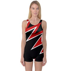 Black and red simple design One Piece Boyleg Swimsuit
