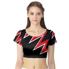 Black and red simple design Short Sleeve Crop Top (Tight Fit)