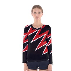 Black and red simple design Women s Long Sleeve Tee