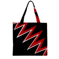 Black and red simple design Zipper Grocery Tote Bag