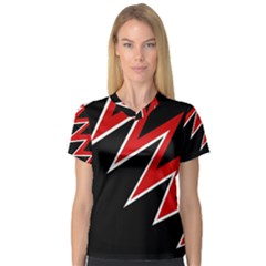 Black and red simple design Women s V-Neck Sport Mesh Tee