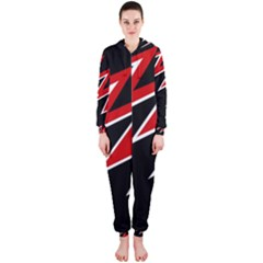 Black and red simple design Hooded Jumpsuit (Ladies)